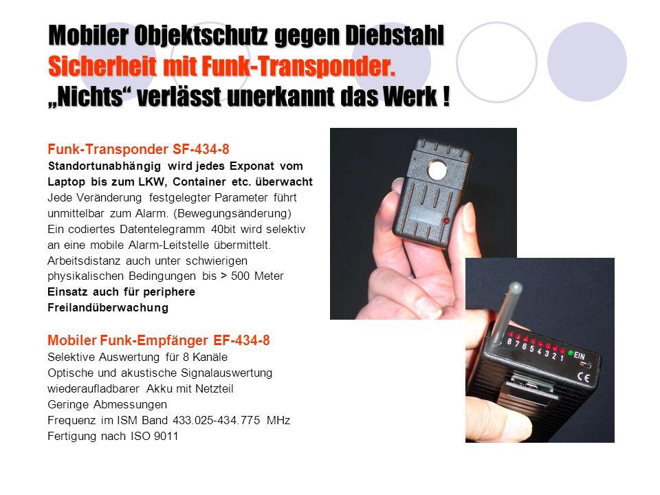 Mobiler Objektschutz gegen Diebstahl Sicherheit mit Funk-Transponder