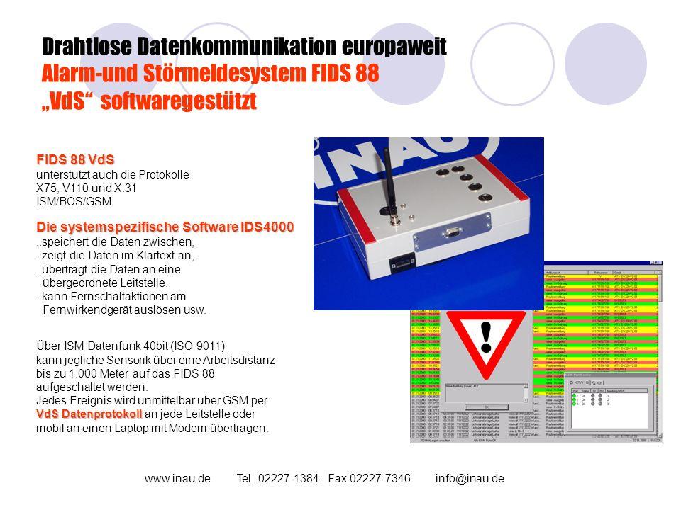 """Drahtlose Datenkommunikation europaweit Alarm-und Störmeldesystem FIDS 88 """"VdS softwaregestützt"""