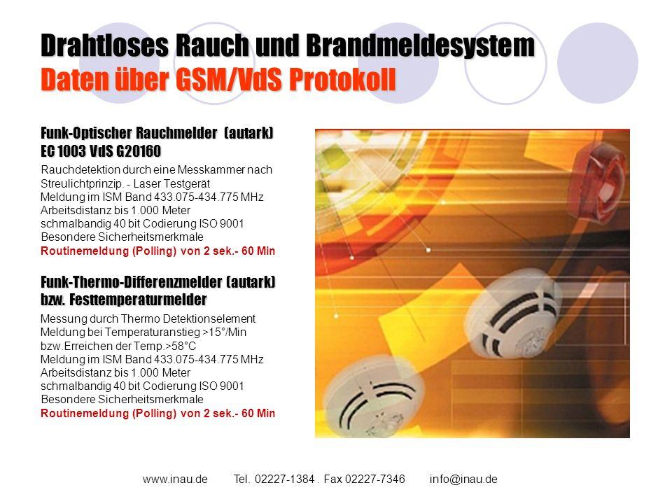 Drahtloses Rauch und Brandmeldesystem Daten über GSM/VdS Protokoll