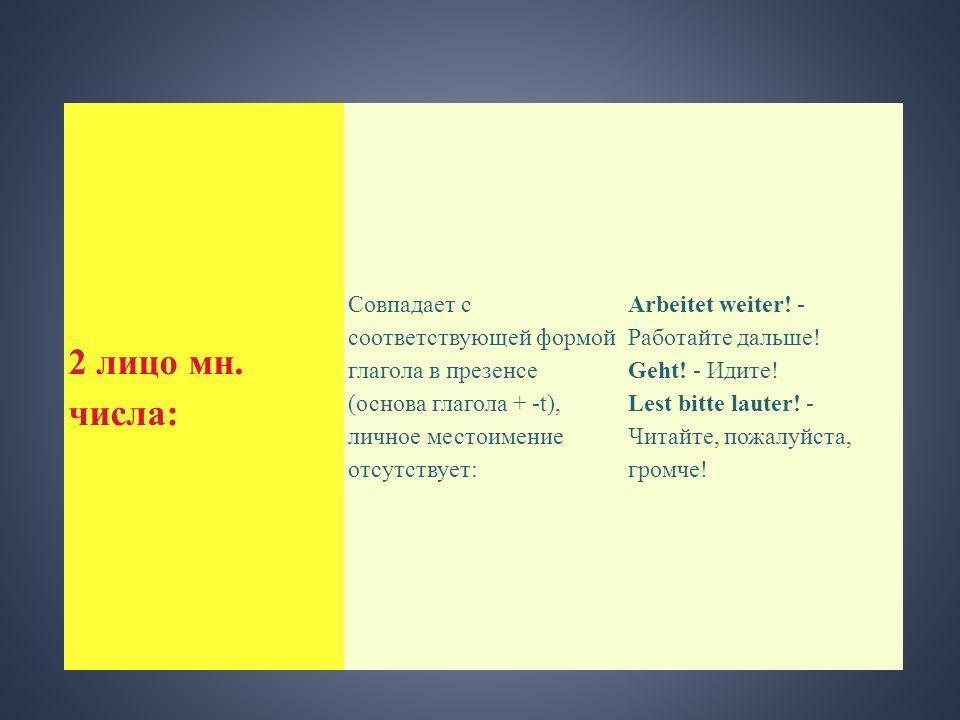 2 лицо мн. числа: Совпадает с соответствующей формой глагола в презенсе (основа глагола + -t), личное местоимение отсутствует: