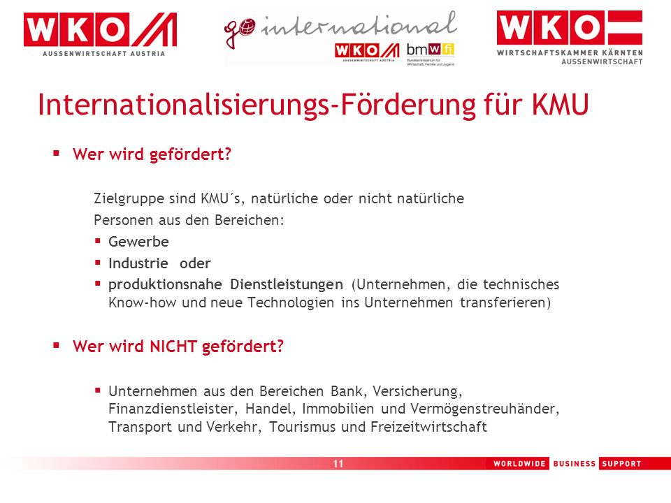Internationalisierungs-Förderung für KMU