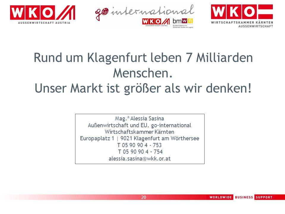 Rund um Klagenfurt leben 7 Milliarden Menschen
