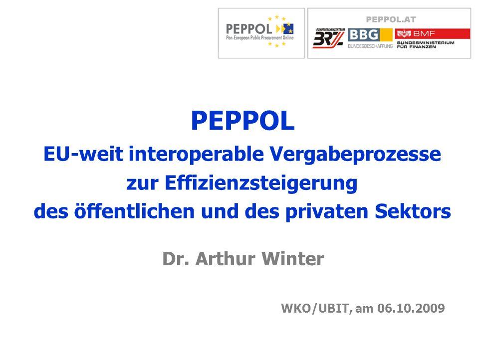 PEPPOL EU-weit interoperable Vergabeprozesse zur Effizienzsteigerung des öffentlichen und des privaten Sektors