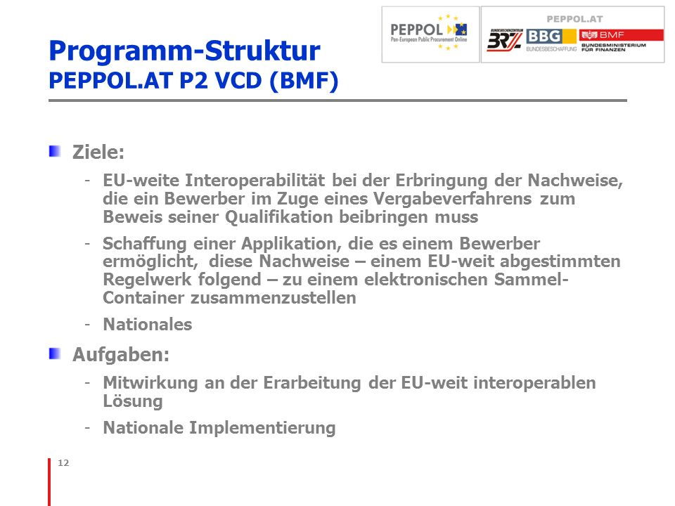 Programm-Struktur PEPPOL.AT P2 VCD (BMF)
