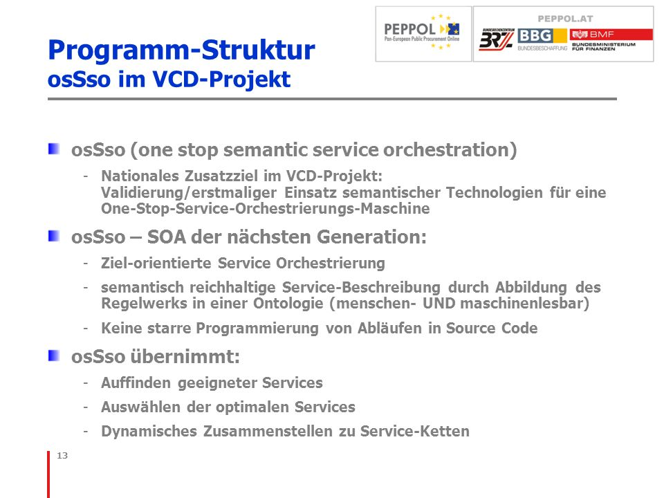 Programm-Struktur osSso im VCD-Projekt