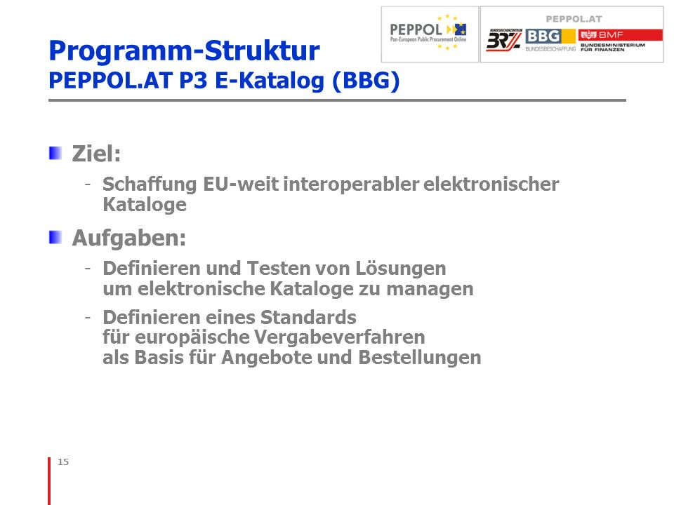 Programm-Struktur PEPPOL.AT P3 E-Katalog (BBG)