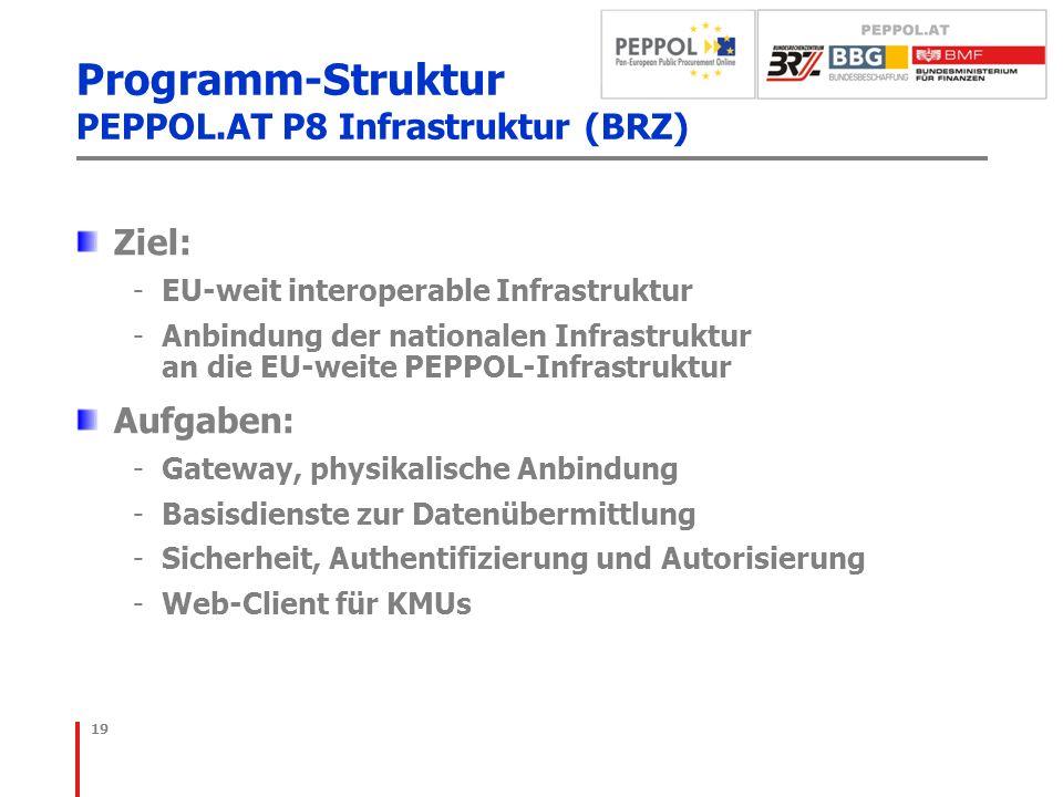 Programm-Struktur PEPPOL.AT P8 Infrastruktur (BRZ)