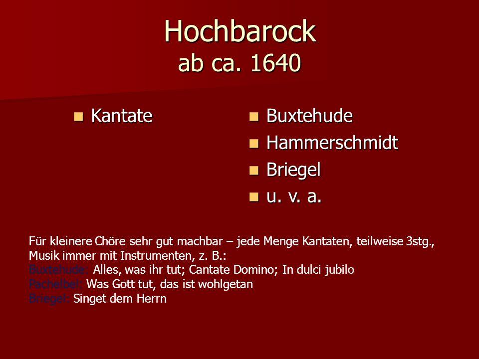 Hochbarock ab ca. 1640 Kantate Buxtehude Hammerschmidt Briegel