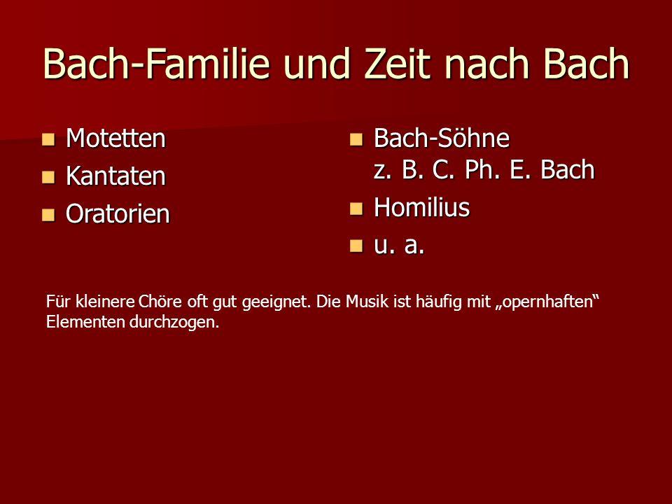 Bach-Familie und Zeit nach Bach