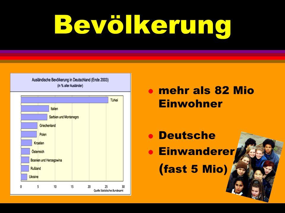 Bevölkerung mehr als 82 Mio Einwohner Deutsche Einwanderer