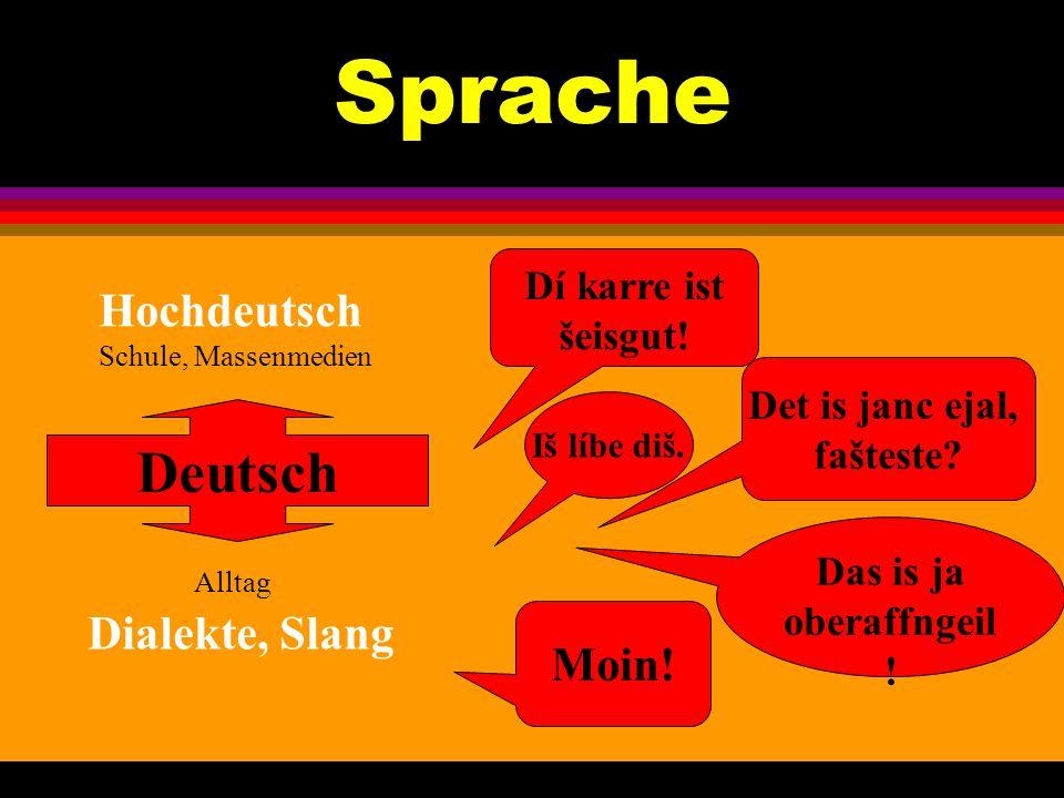 Sprache Deutsch Alltag Dialekte, Slang Moin! Dí karre ist šeisgut!