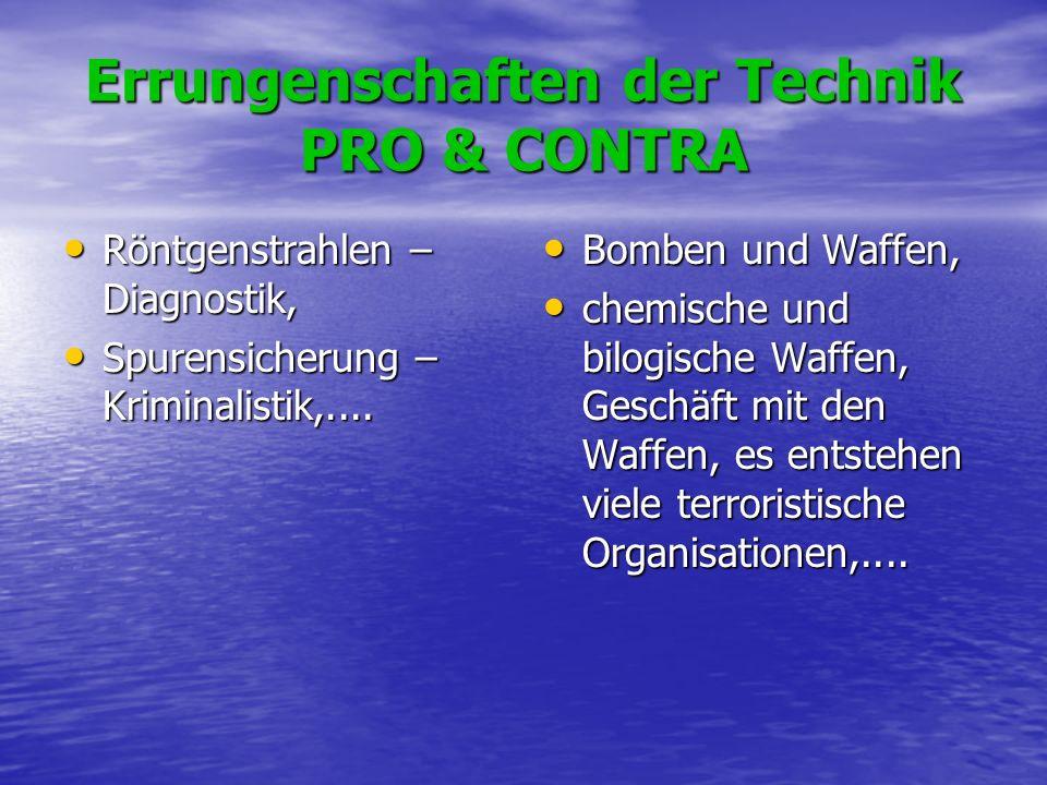 Errungenschaften der Technik PRO & CONTRA