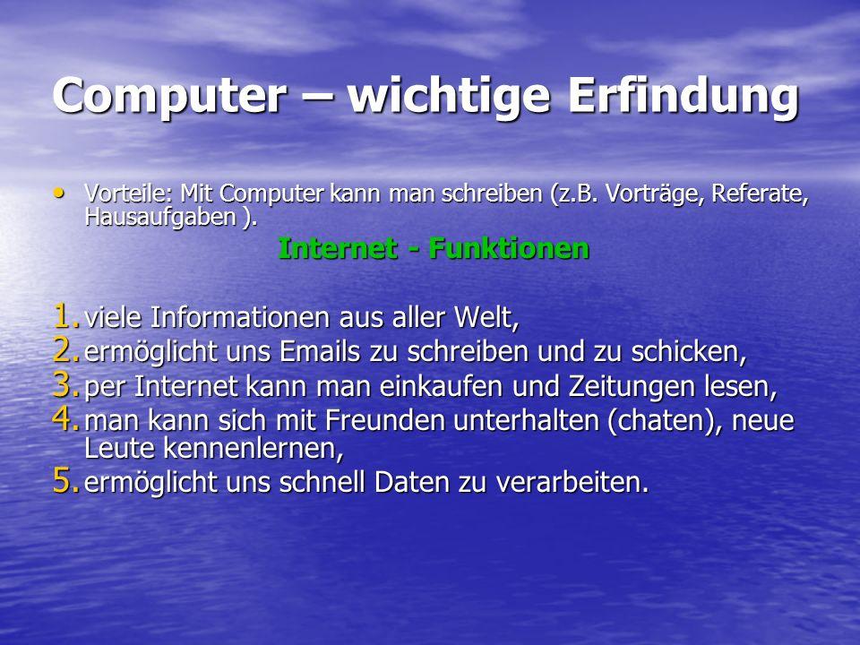 Computer – wichtige Erfindung