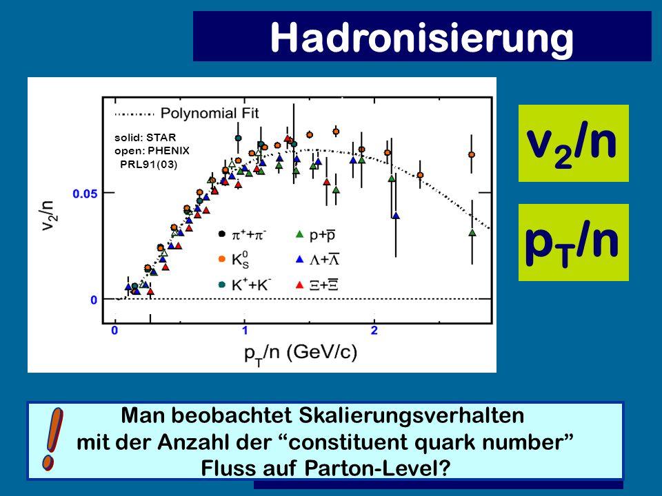 v2/n pT/n Hadronisierung ! Man beobachtet Skalierungsverhalten