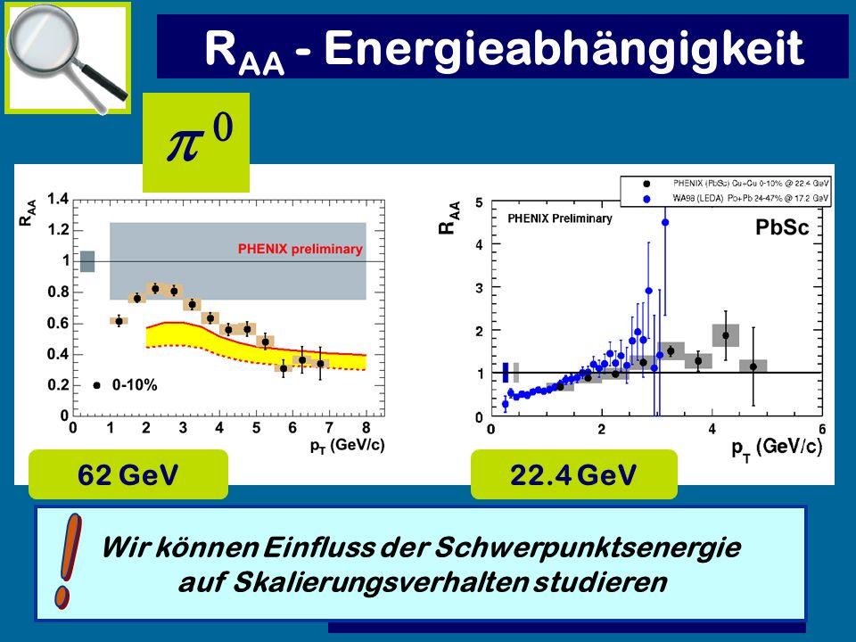 p 0 RAA - Energieabhängigkeit ! 62 GeV 22.4 GeV