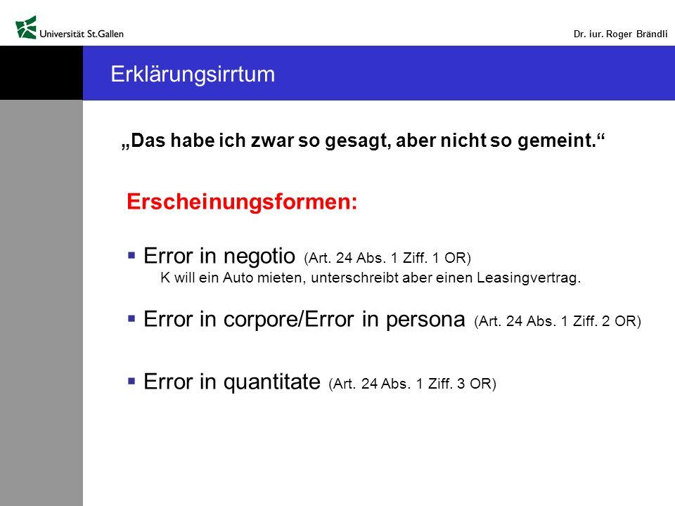 Error in negotio (Art. 24 Abs. 1 Ziff. 1 OR)