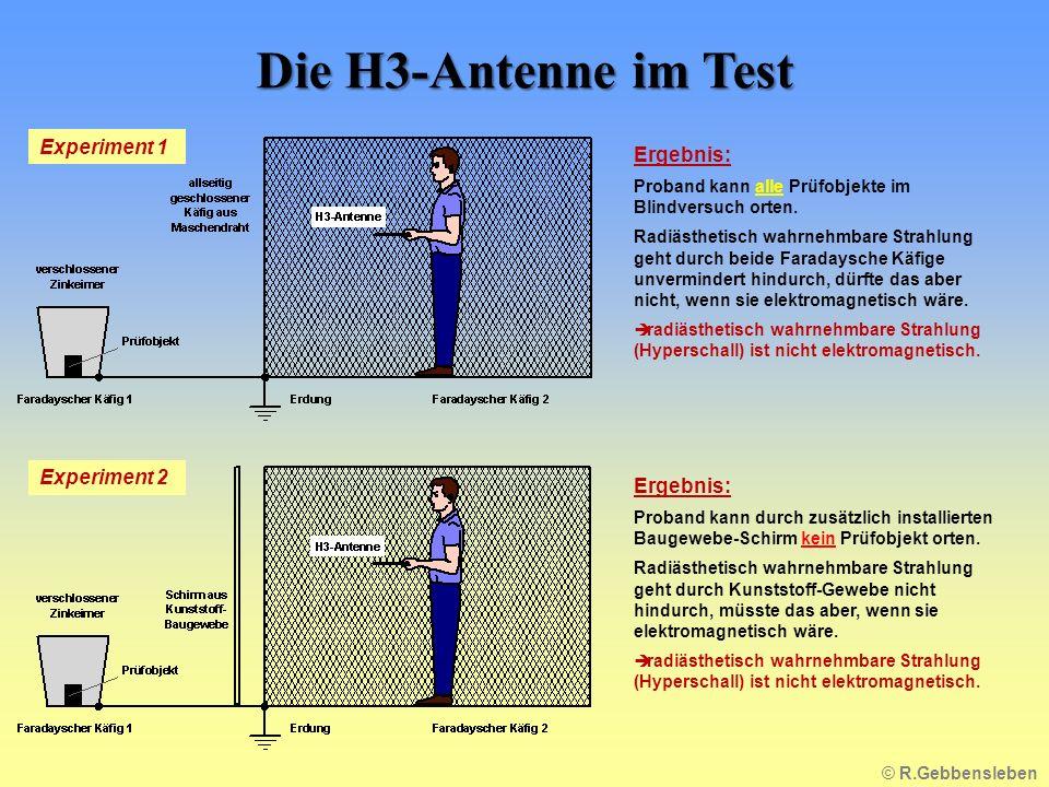 Die H3-Antenne im Test Experiment 1 Ergebnis: Experiment 2 Ergebnis: