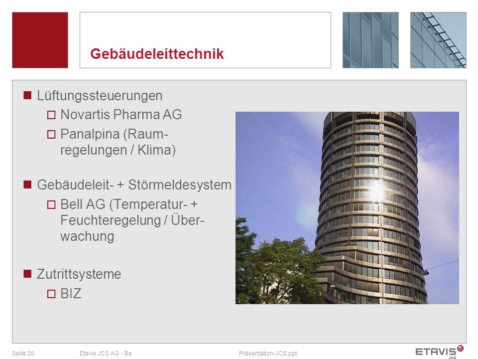 Gebäudeleittechnik Lüftungssteuerungen Novartis Pharma AG