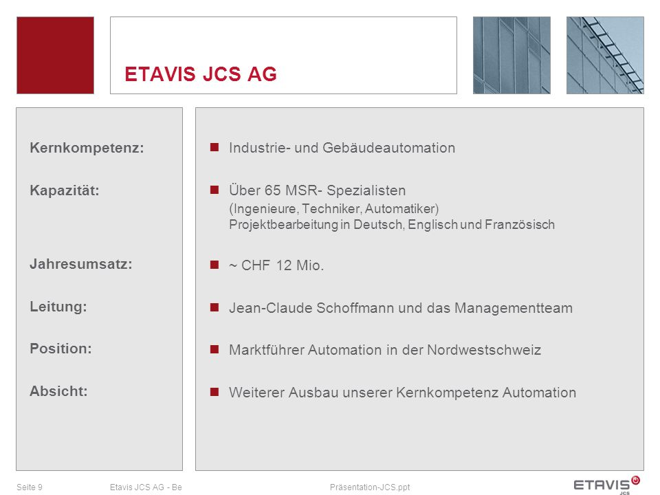 ETAVIS JCS AG Kernkompetenz: Kapazität: Jahresumsatz: Leitung: