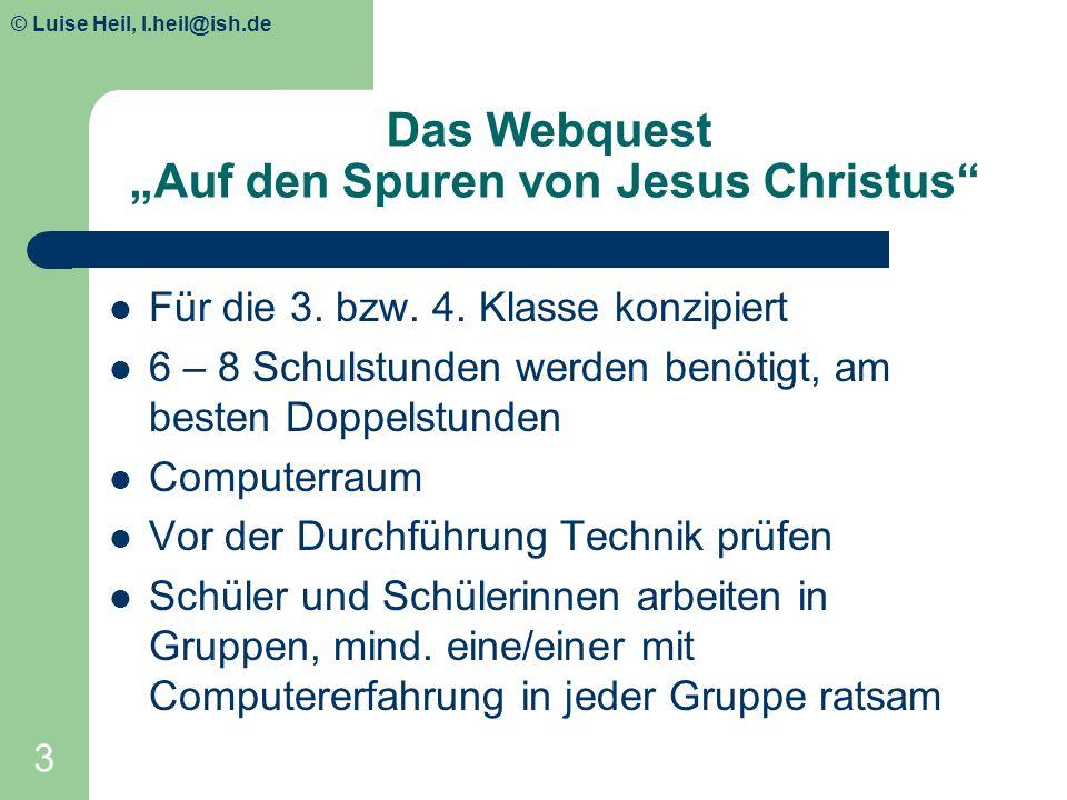 """Das Webquest """"Auf den Spuren von Jesus Christus"""