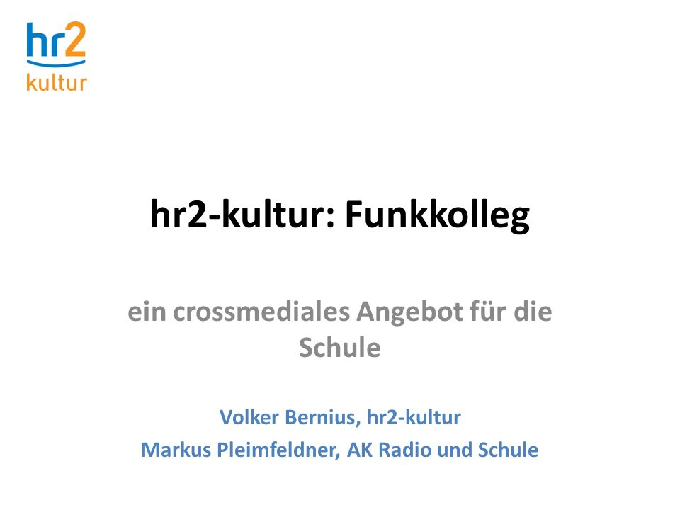 hr2-kultur: Funkkolleg