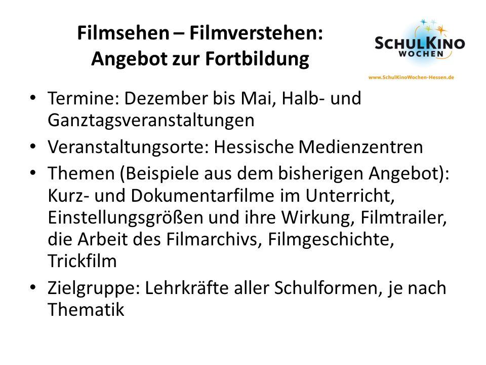 Filmsehen – Filmverstehen: Angebot zur Fortbildung