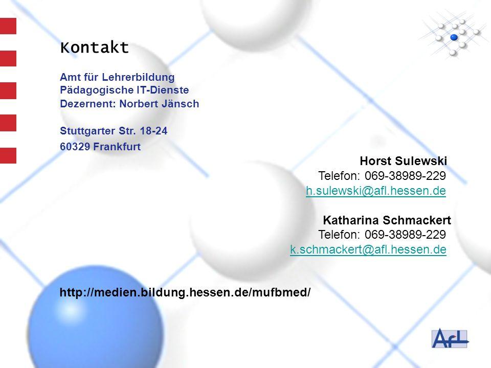 Kontakt Horst Sulewski Telefon: 069-38989-229 h.sulewski@afl.hessen.de