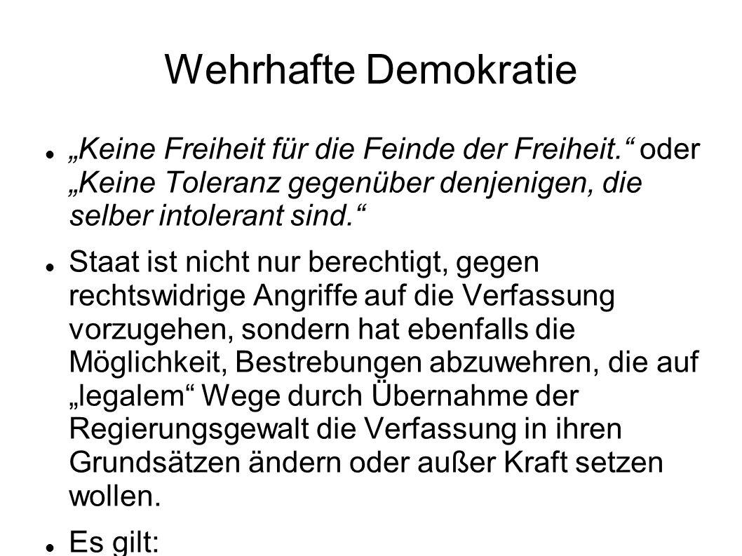 """Wehrhafte Demokratie """"Keine Freiheit für die Feinde der Freiheit. oder """"Keine Toleranz gegenüber denjenigen, die selber intolerant sind."""