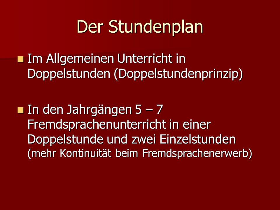 Der Stundenplan Im Allgemeinen Unterricht in Doppelstunden (Doppelstundenprinzip)