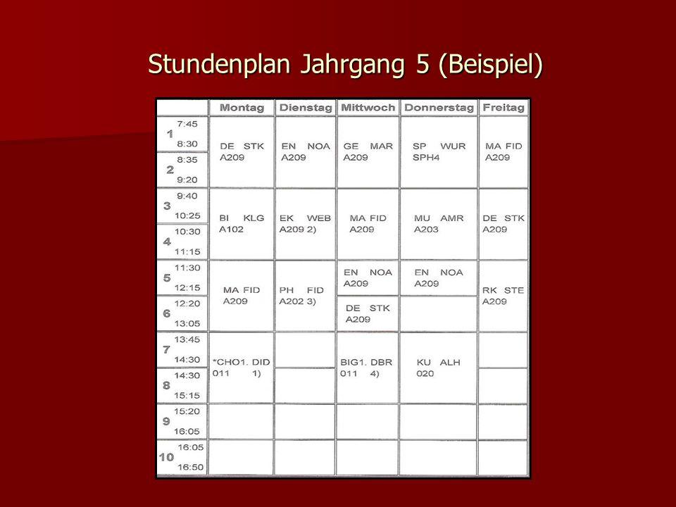 Stundenplan Jahrgang 5 (Beispiel)