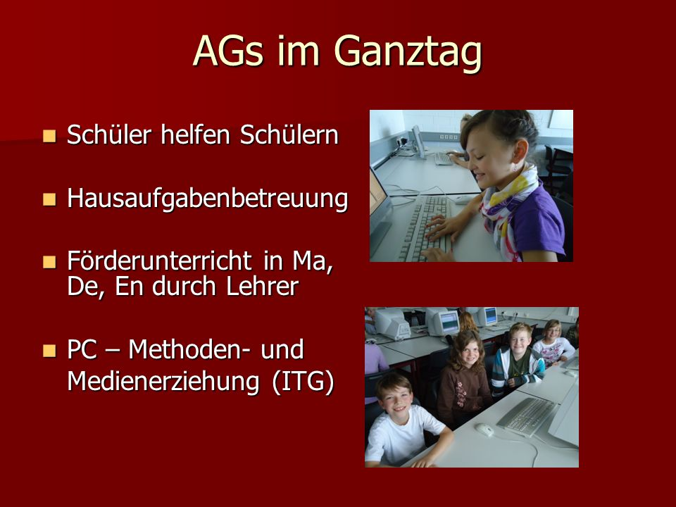 AGs im Ganztag Schüler helfen Schülern Hausaufgabenbetreuung
