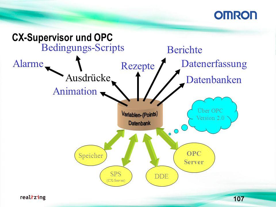 CX-Supervisor und OPC Bedingungs-Scripts Berichte Alarme