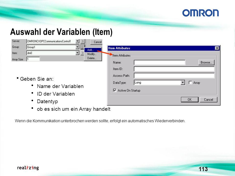 Auswahl der Variablen (Item)
