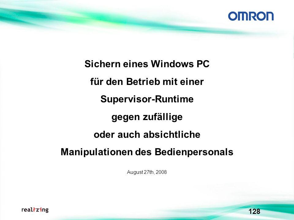 Sichern eines Windows PC für den Betrieb mit einer Supervisor-Runtime