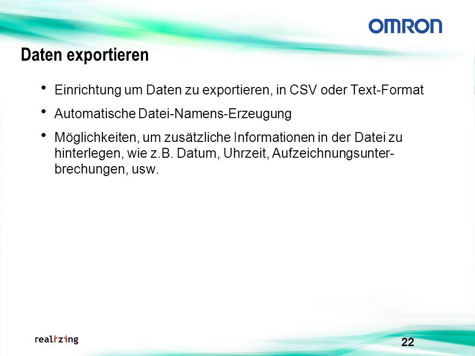 Daten exportieren Einrichtung um Daten zu exportieren, in CSV oder Text-Format. Automatische Datei-Namens-Erzeugung.
