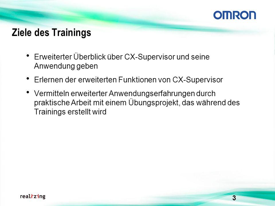 Ziele des Trainings Erweiterter Überblick über CX-Supervisor und seine Anwendung geben. Erlernen der erweiterten Funktionen von CX-Supervisor.