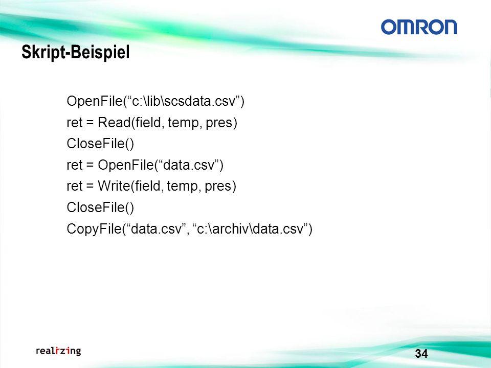 Skript-Beispiel OpenFile( c:\lib\scsdata.csv )