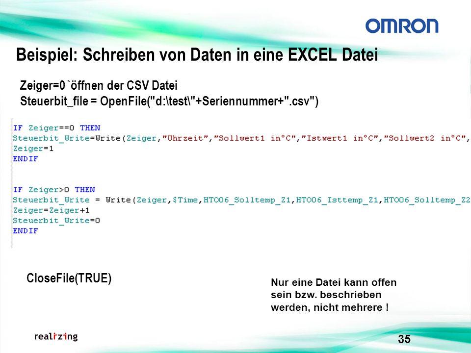 Beispiel: Schreiben von Daten in eine EXCEL Datei