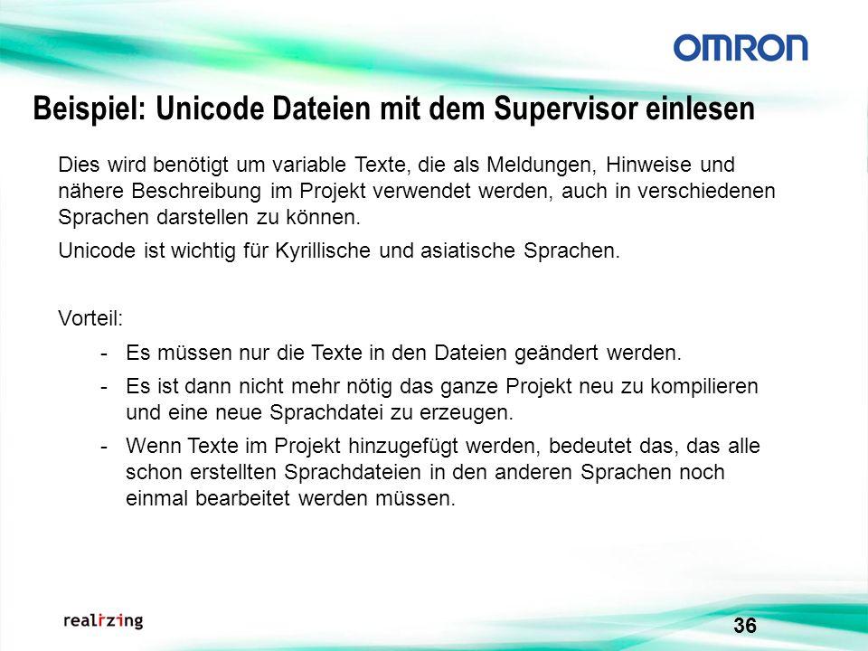 Beispiel: Unicode Dateien mit dem Supervisor einlesen