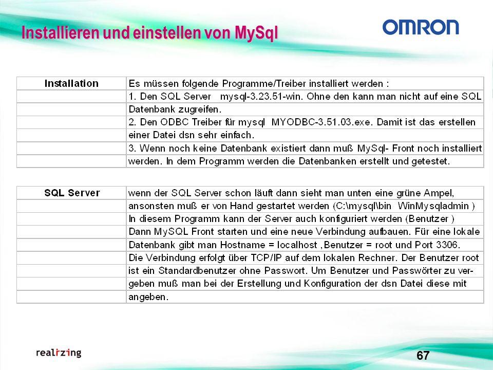 Installieren und einstellen von MySql