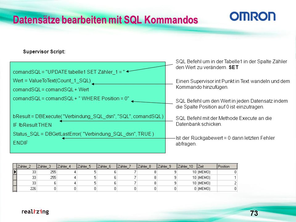 Datensätze bearbeiten mit SQL Kommandos