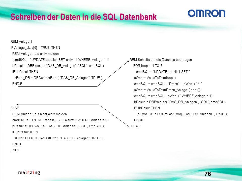 Schreiben der Daten in die SQL Datenbank