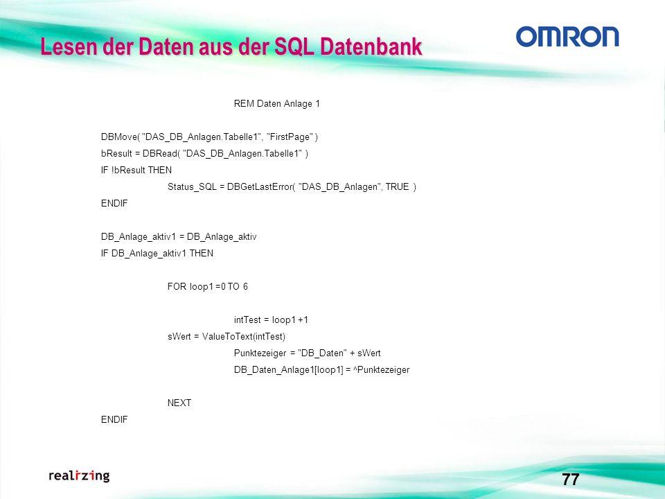 Lesen der Daten aus der SQL Datenbank