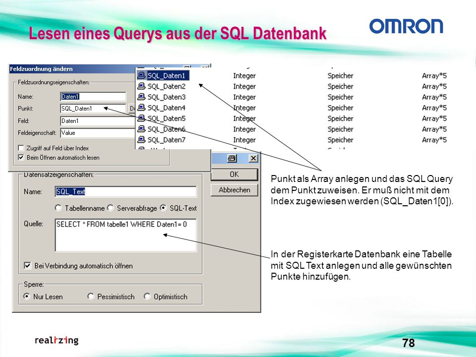 Lesen eines Querys aus der SQL Datenbank