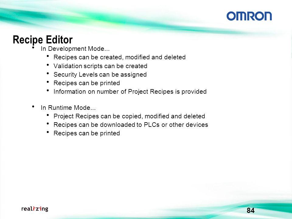 Recipe Editor In Development Mode...