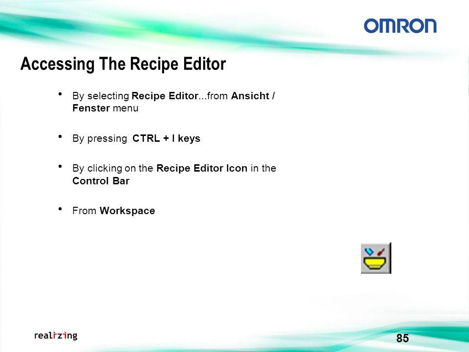 Accessing The Recipe Editor