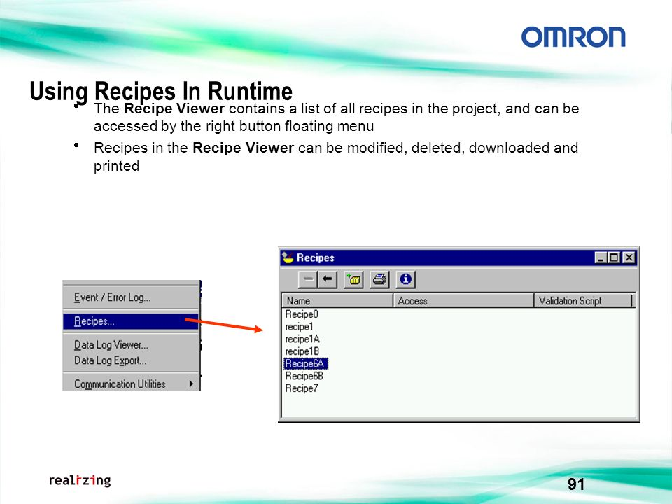 Using Recipes In Runtime