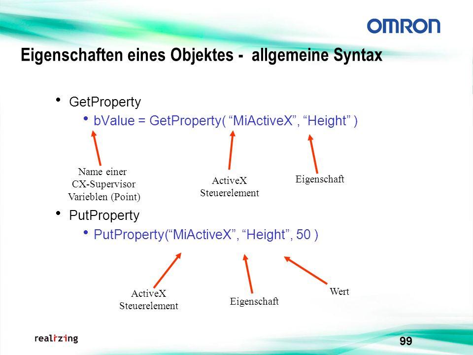 Eigenschaften eines Objektes - allgemeine Syntax