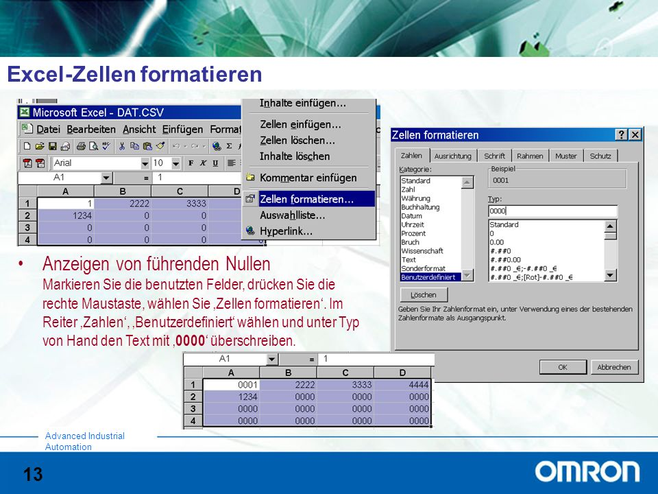 Excel-Zellen formatieren