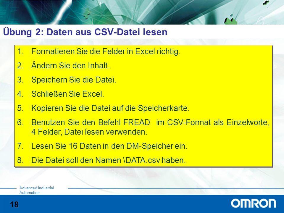 Übung 2: Daten aus CSV-Datei lesen